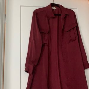 H & M burgundy long sleeve dress